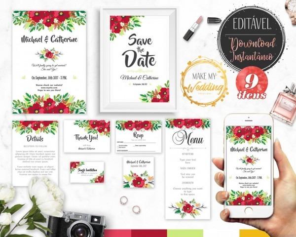 9 Itens Kit Digital Editável Convite De Casamento Floral No Elo7