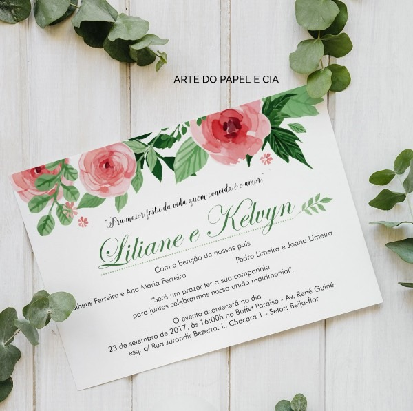 A31  convite de casamento rústico liliane no elo7