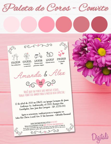 Convite virtual casamento rosa moderno