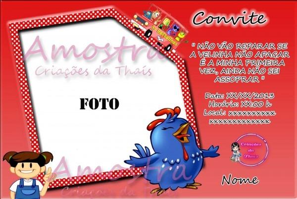 Criações da thaís  novos modelos de convites da galinha pintadinha