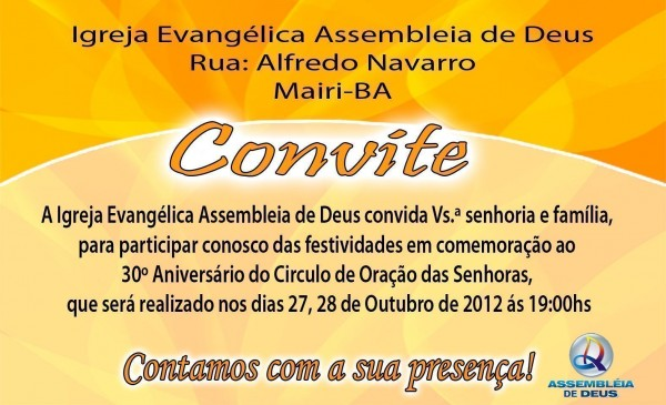 Convites Para Aniversários De Igrejas – Modelos De Convite