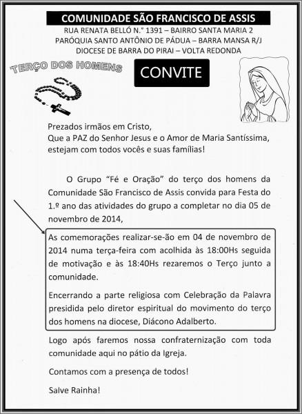Comunidade sÃo francisco de assis  convite de aniversÁrio do terÇo