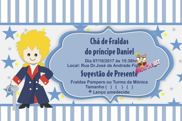 O pequeno principe convite cha de bebe