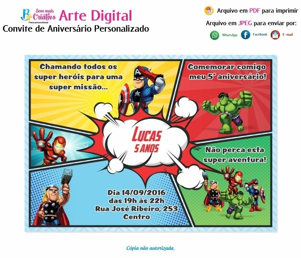 Arte convite digital aniversário infantil vingadores