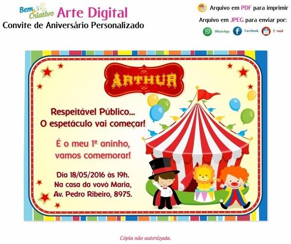 Arte convite digital aniversário personalizado circo