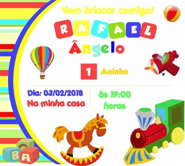 Arte convite digital brinquedos
