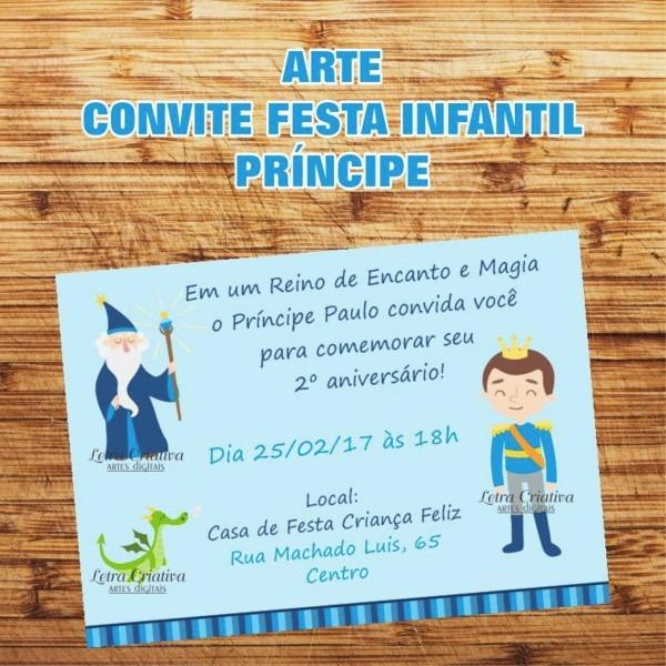 Arte Virtual Convite Festa Infantil Príncipe No Elo7