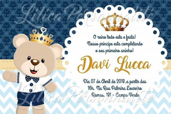 Arte de convite digital aniversário infantil urso principe