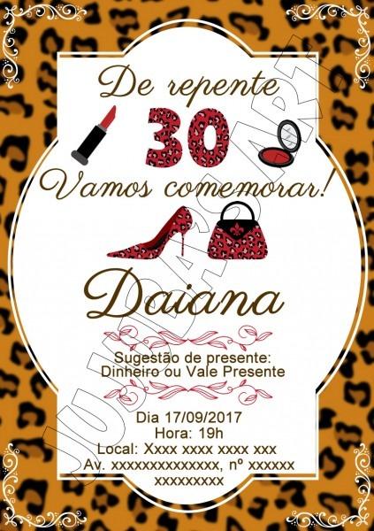 Arte digital convite adulto 30 anos no elo7