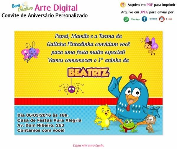 Arte Digital Convite Aniversário Galinha Pintadinha