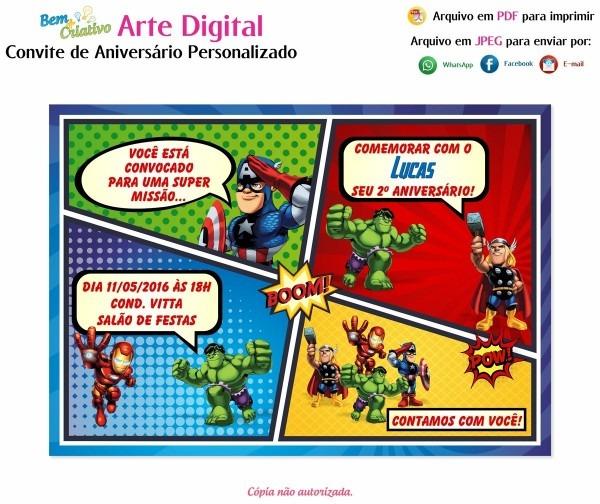 Arte digital convite aniversário infantil vingadores baby