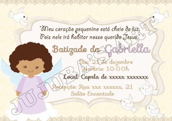 Arte digital convite batizado menino menina anjinho
