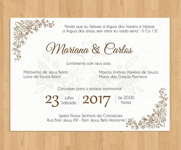 Arte digital convite de casamento no elo7