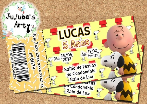 Arte digital convite ingresso snoopy no elo7