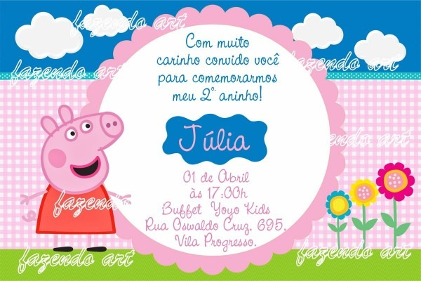 Arte digital convite peppa pig no elo7