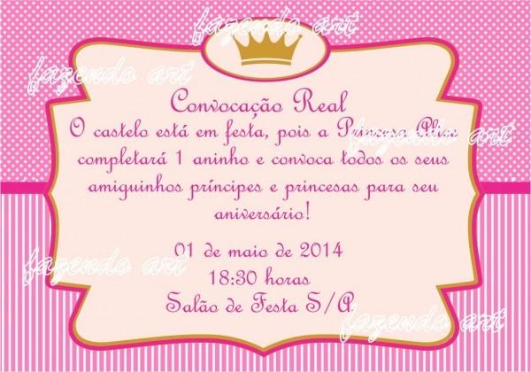 Arte digital convite princesa pink no elo7