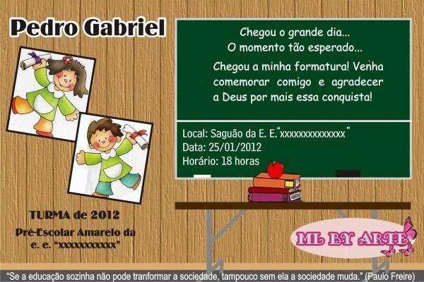 Arte para convite formatura infantil no elo7