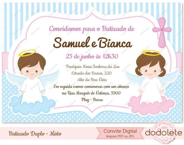 Convite Digital Batizado Duplo Misto No Elo7