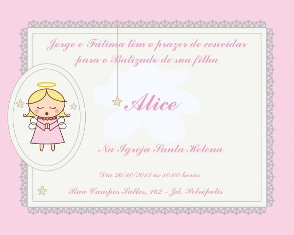Batizado Menina Convite Personalizado No Elo7