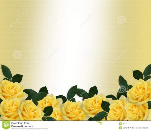 Beira das rosas do amarelo do convite do casamento ilustração