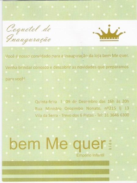 Convite coquetel inauguração – bebe