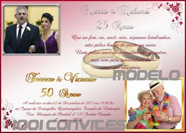 1001 convites  convites de bodas de ouro