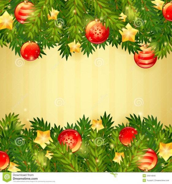Árvore de natal, estrelas e cartão festivo das bolas ilustração