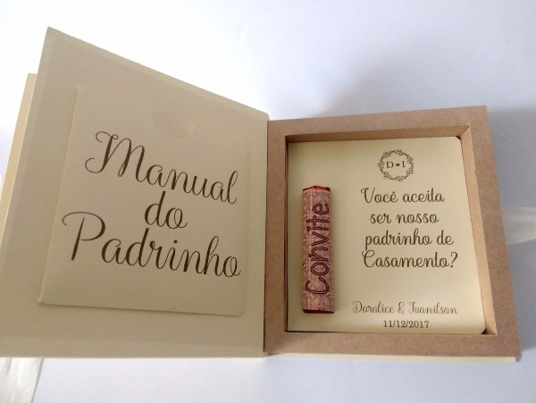 Caixa Convite Padrinho De Casamento Criativa Batom Chocolate
