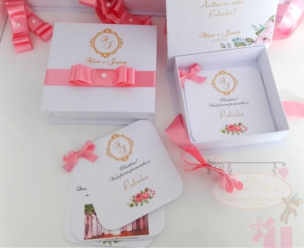 Caixa convite padrinhos de casamento com manual