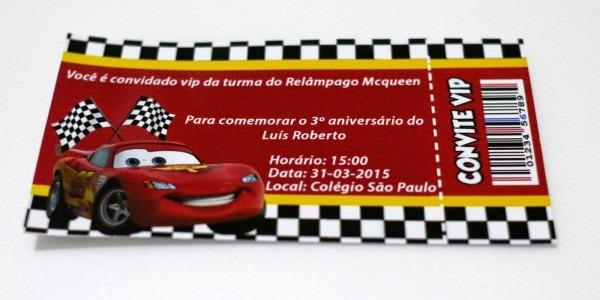 Impresso Com Art  Convite Para Aniversário Infantil Carros