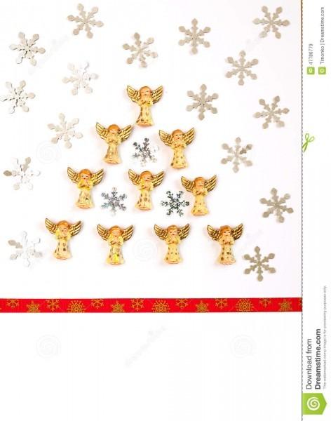 Cartão de natal, convite, anjos da árvore de natal imagem de stock