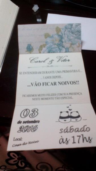 Convite de noivado diy
