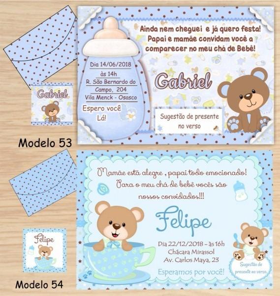 64 convites chá bebê   fraldas tema ursinhos 55,00
