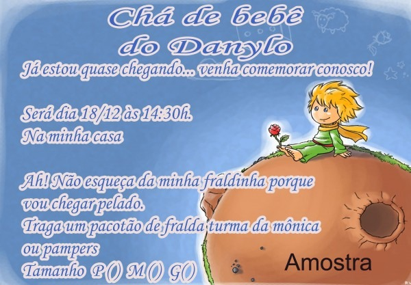 Ilana convites e cia  convite pequeno príncipe