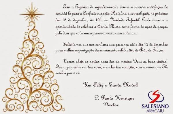 Colégio Salesiano Aracaju  Confraternização Natalina