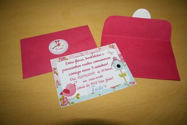 Convite 10x7 com envelope (jardim) no elo7