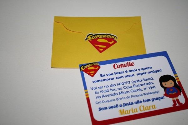 Convite 10x7 com envelope (super heroinas) no elo7