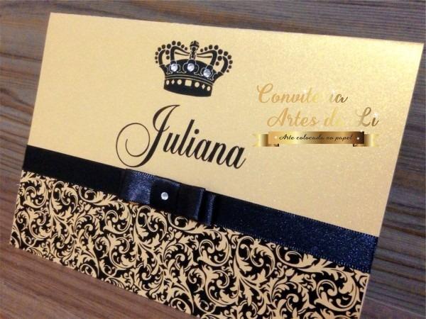 Convite 15 anos dourado com preto papel perolado no elo7