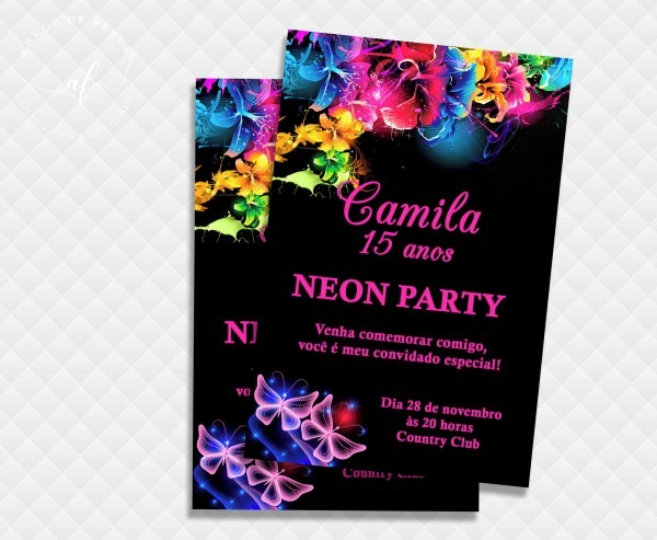 Convite 15 anos neon digital no elo7