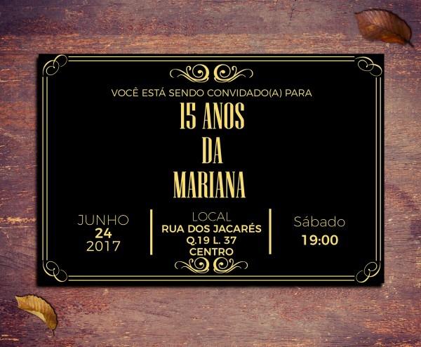 Convite 18 anos preto e dourado vintage 10x7cm