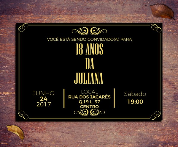 Convite 18 Anos Preto E Dourado Vintage 21x15cm No Elo7
