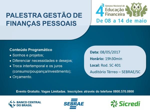 Sebrae sc promove palestras sobre gestão de finanças pessoais