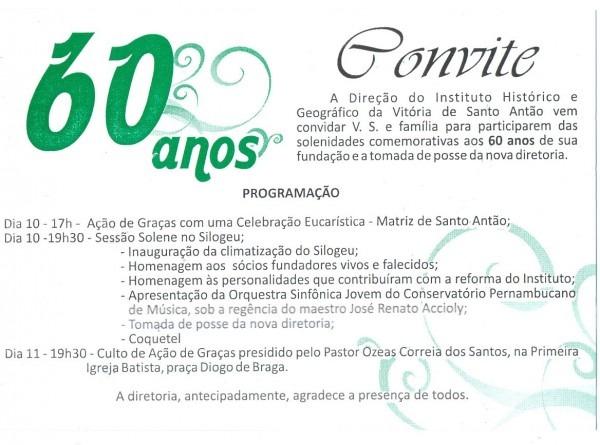 Instituto Histórico Da Vitória Completa 60 Anos