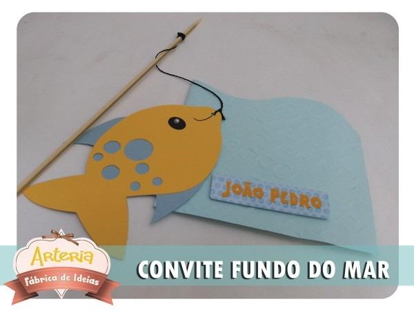 Convite 3d peixe fundo do mar no elo7
