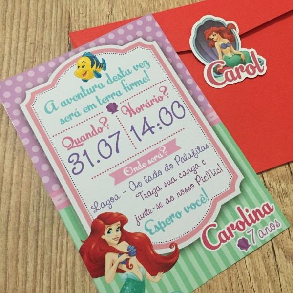 Convite A Pequena Sereia   Ariel No Elo7