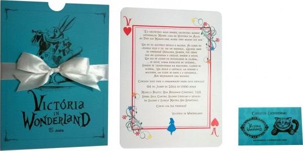 Convites convite aniversário elegance tema alice wonderland em