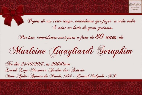 Convites De Aniversário De 80 Anos