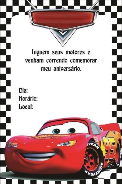 Convite De Aniversário Carros – Modelos De Convite