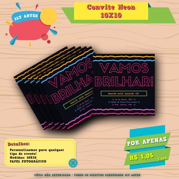 Convite Aniversário 18 Anos Cores Neon
