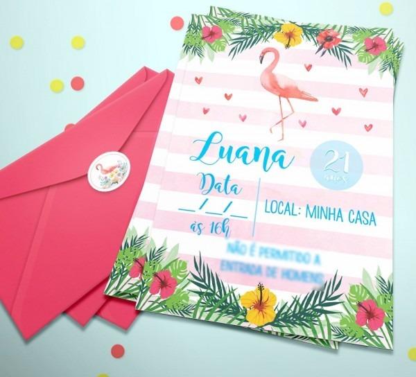 20 convite flamingo aniversario festa tropical + etiq + env